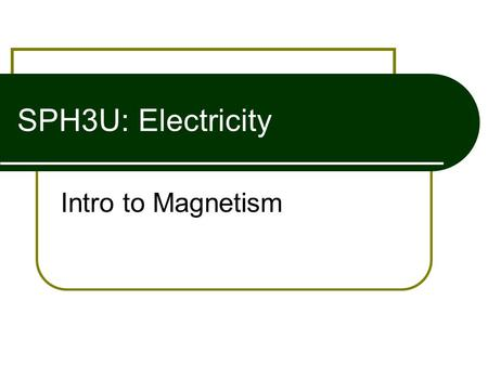SPH3U: Electricity Intro to Magnetism. Magnetic Poles Every magnet has a north and south pole  Like Poles Repel  Opposite Poles Attract SNNSNSNS.