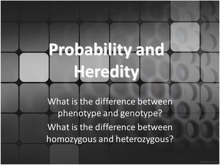 Probability and Heredity What is the difference between phenotype and genotype? What is the difference between homozygous and heterozygous?