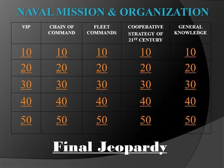 NAVAL MISSION & ORGANIZATION VIPCHAIN OF COMMAND FLEET COMMANDS COOPERATIVE STRATEGY OF 21 ST CENTURY GENERAL KNOWLEDGE 10 20 30 40 50 Final Jeopardy.