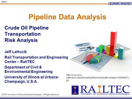 ILLINOIS - RAILTEC Slide 1 © 2013 University of Illinois at Urbana-Champaign. All Rights Reserved Pipeline Data Analysis Crude Oil Pipeline Transportation.