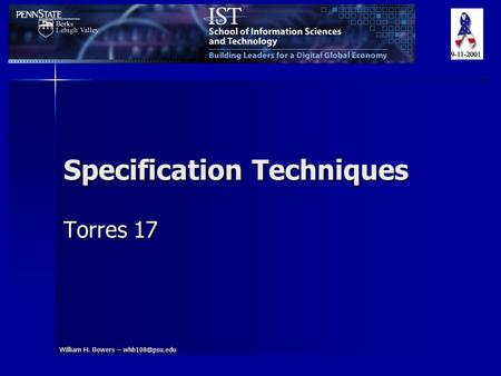 William H. Bowers – Specification Techniques Torres 17.