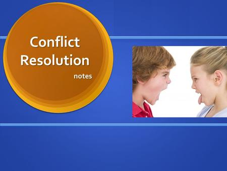 Conflict Resolution notes. What is Conflict Resolution? Sometimes we all get pretty angry. We may feel that something is unfair, something has been taken.