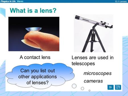 15.1 Lenses What is a lens? A contact lens Lenses are used in telescopes Can you list out other applications of lenses? microscopes cameras.