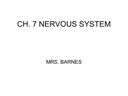 CH. 7 NERVOUS SYSTEM MRS. BARNES. Nervous System Central Nervous System (CNS): brain and spinal cord. Peripheral Nervous System (PNS): nerves of the body.