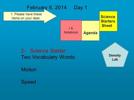 February 6, 2014 Day 1 Science Starters Sheet 1. Please have these Items on your desk. I.A Notebook 2- Science Starter: Two Vocabulary Words: Motion Speed.