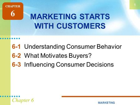MARKETING STARTS WITH CUSTOMERS