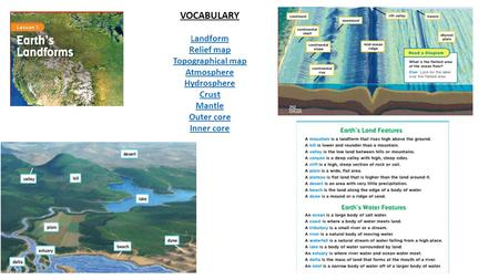 VOCABULARY Landform Relief map Topographical map Atmosphere Hydrosphere Crust Mantle Outer core Inner core.