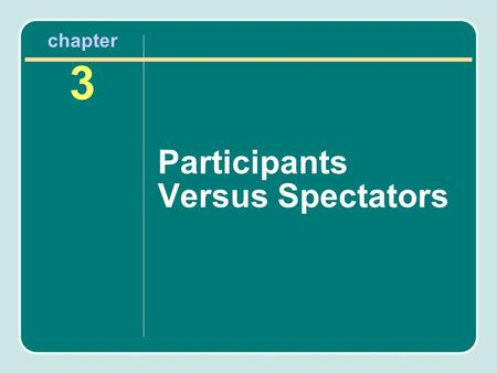 Chapter 3 Participants Versus Spectators. Chapter Outline Sport Participants Factors Affecting Sport Participation Trends in Sport Participation Sport.