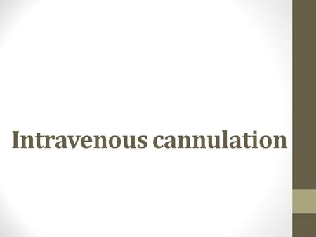 Intravenous cannulation