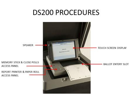 DS200 PROCEDURES TOUCH SCREEN DISPLAY SPEAKER MEMORY STICK & CLOSE POLLS ACCESS PANEL BALLOT ENTERY SLOT REPORT PRINTER & PAPER ROLL ACCESS PANEL.