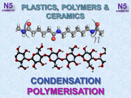 After completing this topic you should be able to : Condensation polymers are made from monomers with two functional groups per molecule. Draw the structure.