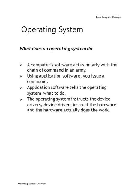 Operating Systems Overview Basic Computer Concepts Operating System What does an operating system do  A computer's software acts similarly with.