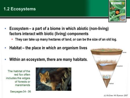 (c) McGraw Hill Ryerson 2007 1.2 Ecosystems Ecosystem – a part of a biome in which abiotic (non-living) factors interact with biotic (living) components.