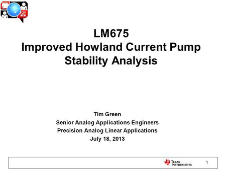 LM675 Improved Howland Current Pump Stability Analysis