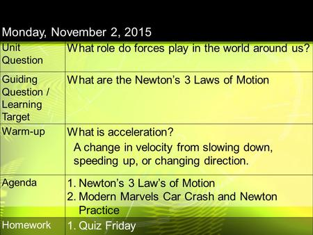 Monday, November 2, 2015 Unit Question What role do forces play in the world around us? Guiding Question / Learning Target What are the Newton's 3 Laws.