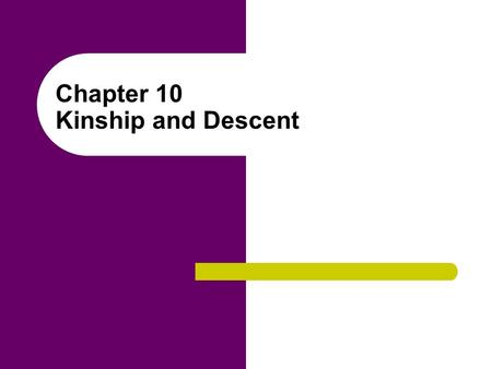 Chapter 10 Kinship and Descent. Chapter Outline Kinship Defined Cultural Rules Regarding Kinship Functions of Kinship Systems Using Kinship Diagrams Principles.