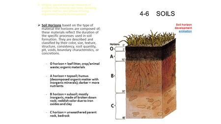 4-6 SOILS  Origins- parent material; mixtures of eroded rock, mineral nutrients, decaying organic matter, and billons of living organisms (mostly decomposers)