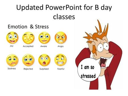 Updated PowerPoint for B day classes Emotion & Stress.
