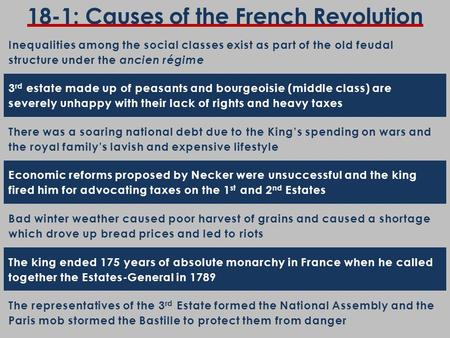 18-1: Causes of the French Revolution Inequalities among the social classes exist as part of the old feudal structure under the ancien régime 3 rd estate.