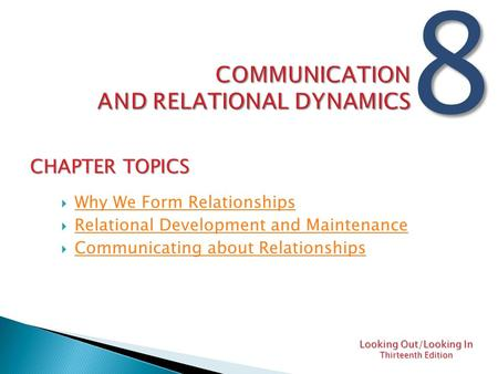 Communication and relational dynamics