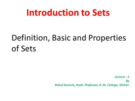 Introduction to Sets Definition, Basic and Properties of Sets