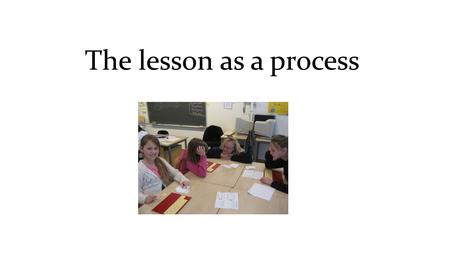 The lesson as a process. Preliminary work and planning Follow up and reflection PhaseAction Start Teaching in front Questions and answers Messages Working.