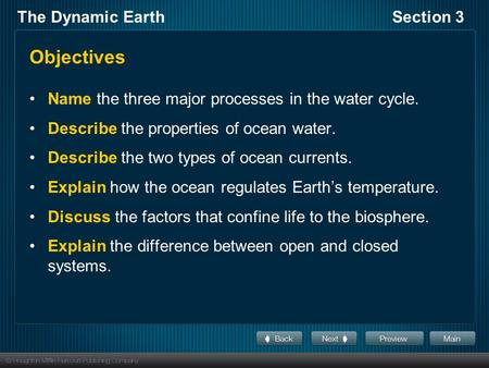 The Dynamic EarthSection 3 Objectives Name the three major processes in the water cycle. Describe the properties of ocean water. Describe the two types.