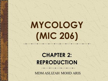 MYCOLOGY (MIC 206) CHAPTER 2: REPRODUCTION MDM ASLIZAH MOHD ARIS.