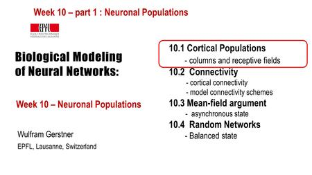 Biological Modeling of Neural Networks: Week 10 – Neuronal Populations Wulfram Gerstner EPFL, Lausanne, Switzerland 10.1 Cortical Populations - columns.
