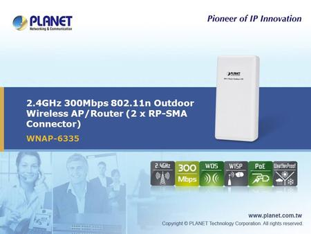 2.4GHz 300Mbps 802.11n Outdoor Wireless AP/Router (2 x RP-SMA Connector) WNAP-6335.