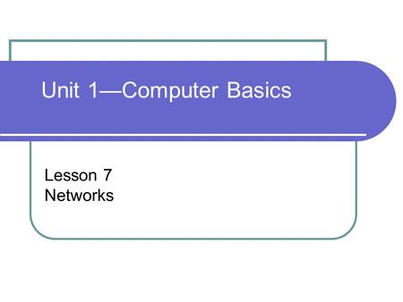 Lesson 7 Networks Unit 1—Computer Basics. Computer Concepts BASICS - 2 Objectives Describe the benefits and disadvantages of networks. List and describe.