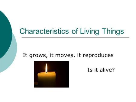 Characteristics of Living Things It grows, it moves, it reproduces Is it alive?