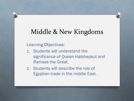 Middle & New Kingdoms Learning Objectives: 1. Students will understand the significance of Queen Hatshepsut and Ramses the Great. 2. Students will describe.