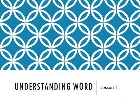 UNDERSTANDING WORD Lesson 1 1. WORD 2013  Full featured software word processing program that allows users <strong>to</strong> create professional-looking documents 