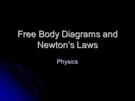 Free Body Diagrams and Newton's Laws Physics. Newton's 1 st Law Newton's 1 st Law An object in motion stays in motion in a straight line, unless acted.
