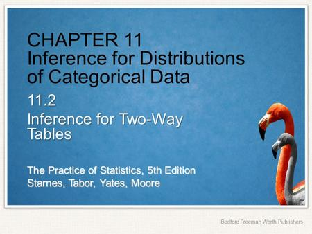 The Practice of Statistics, 5th Edition Starnes, Tabor, Yates, Moore Bedford Freeman Worth Publishers CHAPTER 11 Inference for Distributions of Categorical.