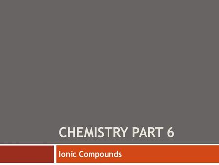 CHEMISTRY PART 6 Ionic Compounds. 1+ 2+ 3+ 3- 2- 1- Charges of transition metals will be given in the periodic table as their formation is complicated.