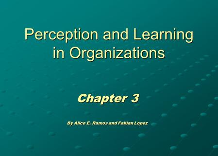 Perception and Learning in Organizations Chapter 3 By Alice E. Ramos and Fabian Lopez.