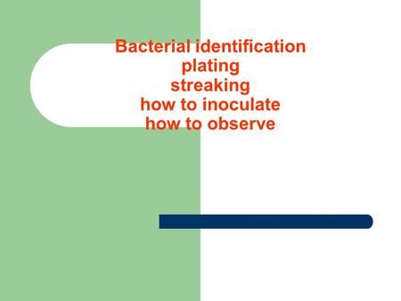 Bacterial identification plating streaking how to inoculate how to observe.