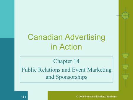 © 2006 Pearson Education Canada Inc. 14.1 Canadian Advertising in Action Chapter 14 Public Relations and Event Marketing and Sponsorships.