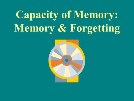 Capacity of Memory: Memory & Forgetting. Capacity of Memory Memory is limitless (LTM) however, we don't store all of our experiences permanently. –WHY?