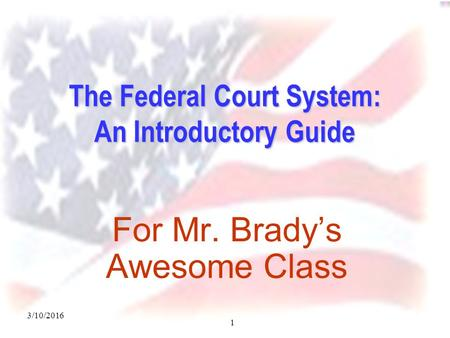 3/10/2016 1 The Federal Court System: An Introductory Guide For Mr. Brady's Awesome Class.