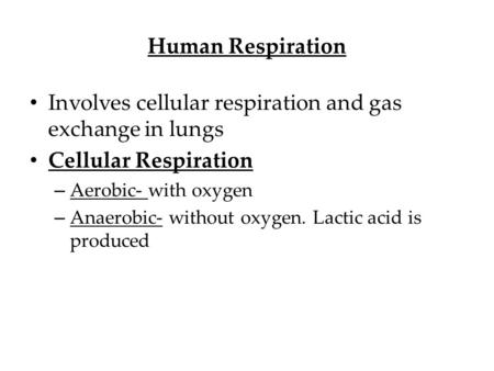 Human Respiration Involves cellular respiration and gas exchange in lungs Cellular Respiration – Aerobic- with oxygen – Anaerobic- without oxygen. Lactic.
