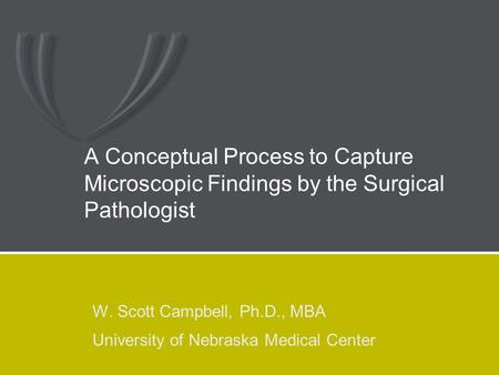 A Conceptual Process to Capture Microscopic Findings by the Surgical Pathologist W. Scott Campbell, Ph.D., MBA University of Nebraska Medical Center.