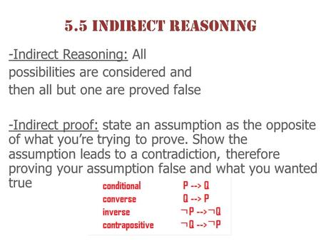 5.5 Indirect Reasoning -Indirect Reasoning: All possibilities are considered and then all but one are proved false -Indirect proof: state an assumption.