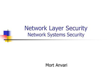 Network Layer Security Network Systems Security Mort Anvari.
