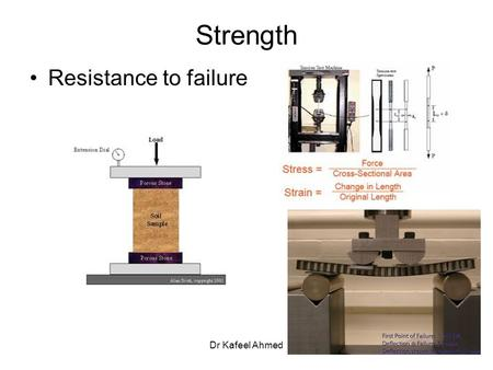 Dr Kafeel Ahmed Strength Resistance to failure. Dr Kafeel Ahmed Strength Types 1.Compressive strength 2.Tensile strength 3.Flexural strength 4.Shear strength.