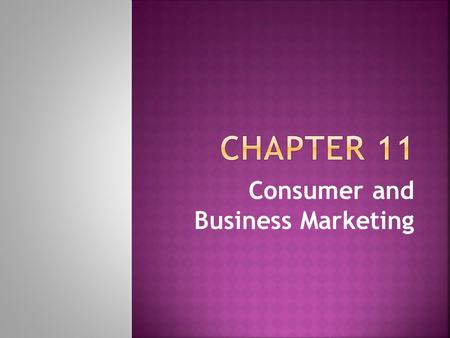 Consumer and Business Marketing.  The consumer market is the segment of the overall market that consist of individuals who buy goods and services for.