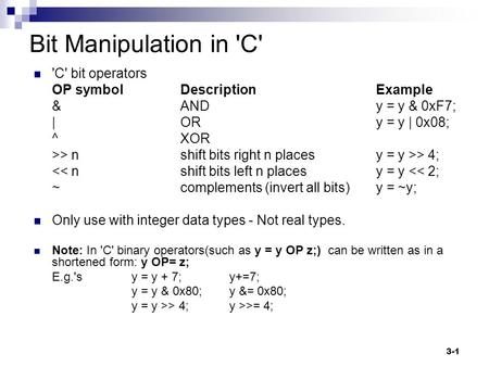 Bit Manipulation in 'C' 'C' bit operators