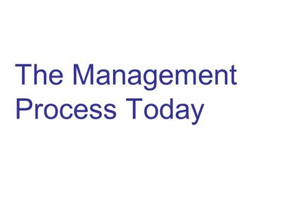 The Management Process Today. 2 What is Management? The planning, organizing, leading, and controlling of human and other resources to achieve organizational.